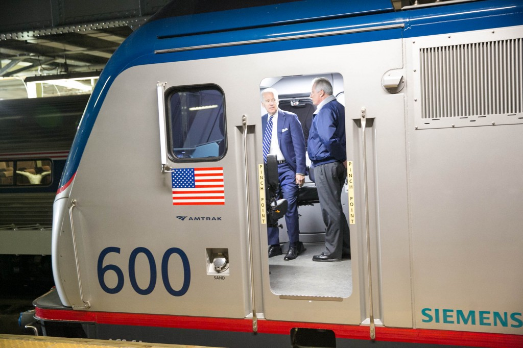 Vice President Joe Biden, left, receiving a tour of an upgraded Amtrak car. Photo by Amtrak.