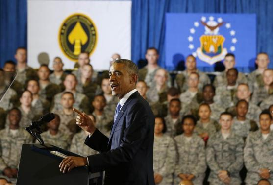 President Obama addresses U.S. Central Command on increased airstrikes on ISIS. Photo by Larry Downing/Reuters.