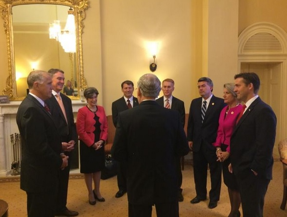 Soon-to-be Senate Majority Leader Mitch McConnell, with the new class of Republican Senators, fresh off the GOP's successful election night. Photo from Twitter.com/McConnell Press.