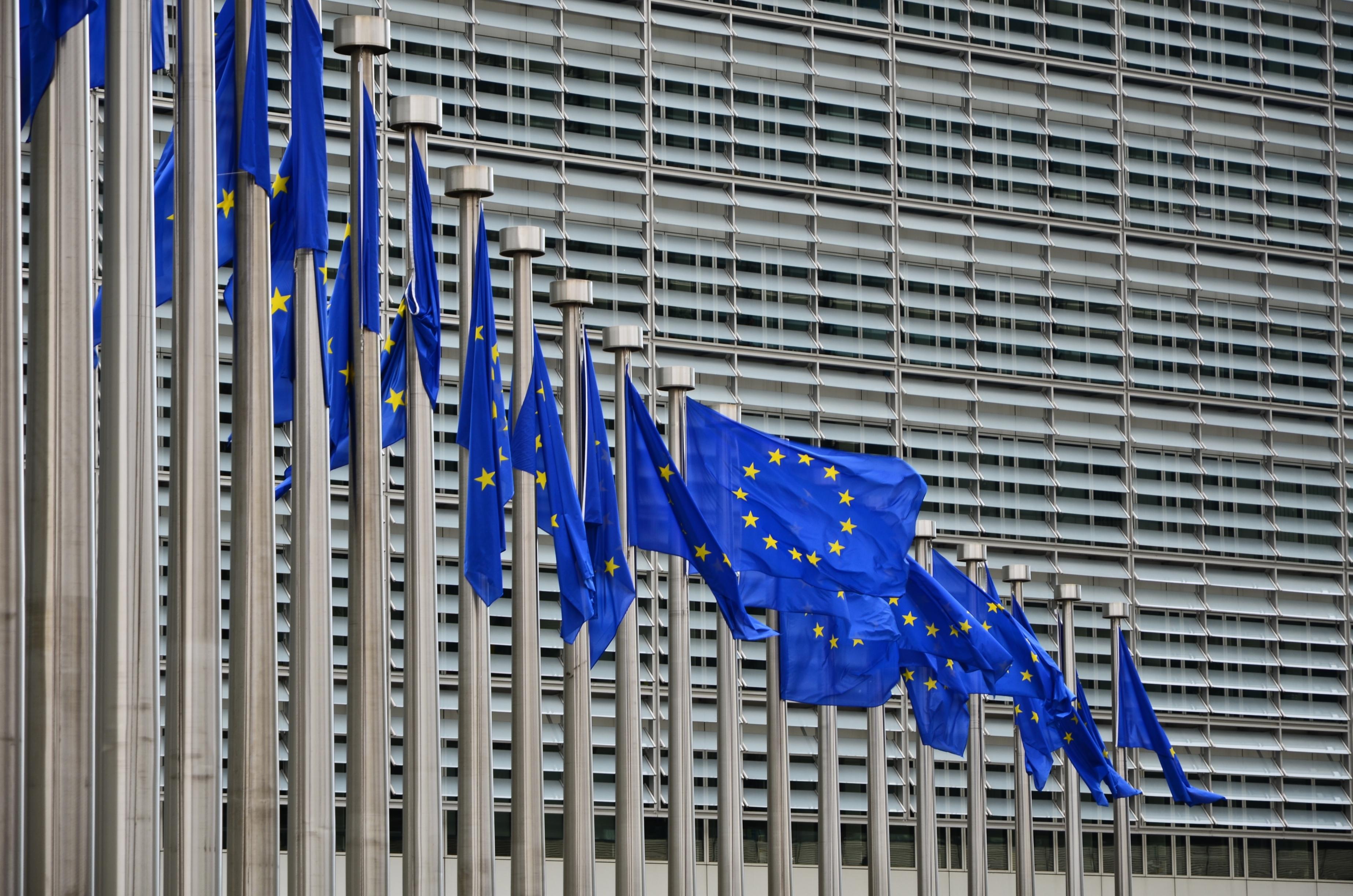 European Union flags outside EU headquarters in Brussels