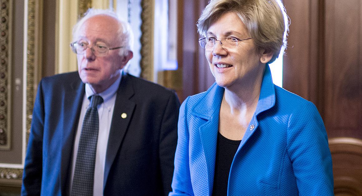 Sen. Bernie Sanders, I-Vt., and Sen. Elizabeth Warren, D-Mass. (Photo By Bill Clark/CQ Roll Call)