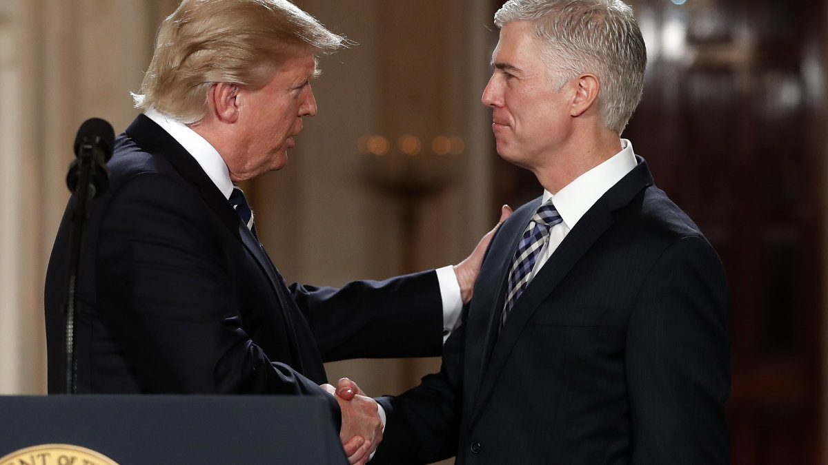 Neil Gorsuch and President Trump. Source: AP